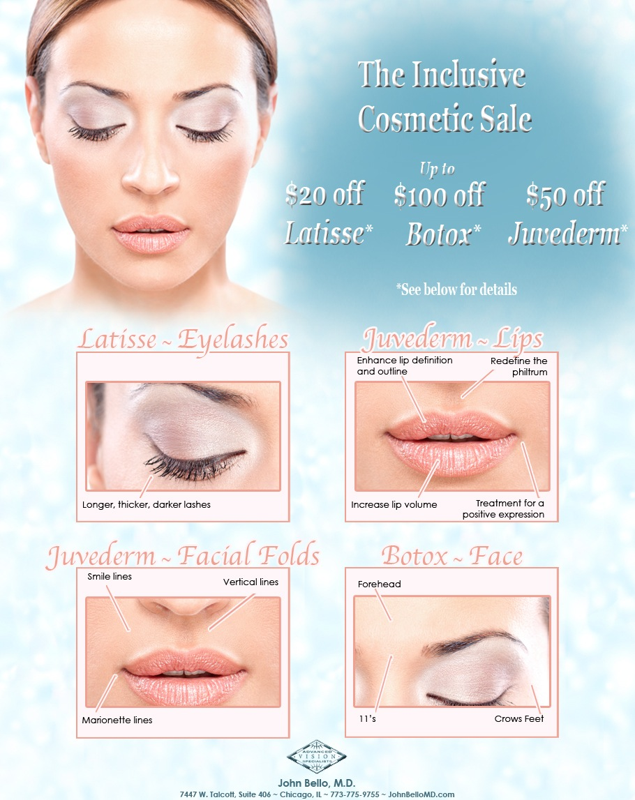Botox Sale Chicago, Juvederm Sale Chicago, Latisse Sale Chicago